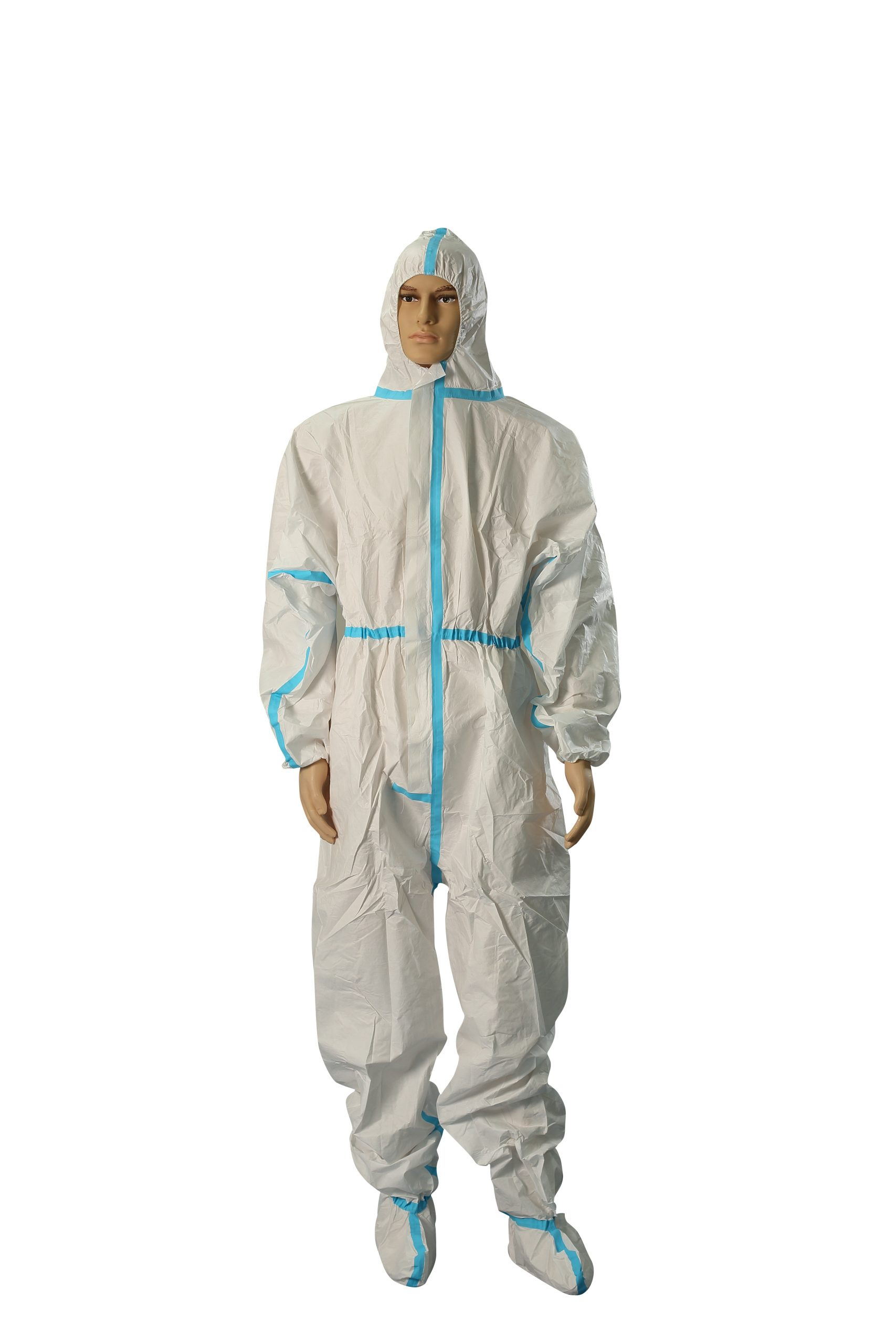 CE FDA Disposable chemical protective coverall with hood and shoe cover