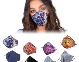 Public unisex cotton mask with PM2.5 5-layer filter pocket