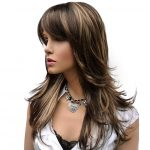 Long Straight Layered Style Synthetic Wig