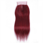 Burgundy Straight Lace Brazilian Human Hair Closure